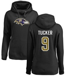 Women's Justin Tucker Black Name & Number Logo - #9 Football Baltimore Ravens Pullover Hoodie