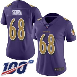 Limited Women's Matt Skura Purple Jersey - #68 Football Baltimore Ravens 100th Season Rush Vapor Untouchable