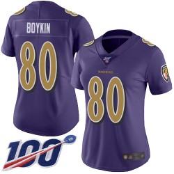 Limited Women's Miles Boykin Purple Jersey - #80 Football Baltimore Ravens 100th Season Rush Vapor Untouchable