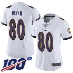 Limited Women's Miles Boykin White Road Jersey - #80 Football Baltimore Ravens 100th Season Vapor Untouchable