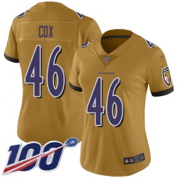 Limited Women's Morgan Cox Gold Jersey - #46 Football Baltimore Ravens 100th Season Inverted Legend