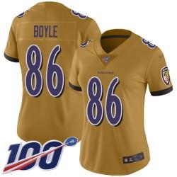 Limited Women's Nick Boyle Gold Jersey - #86 Football Baltimore Ravens 100th Season Inverted Legend