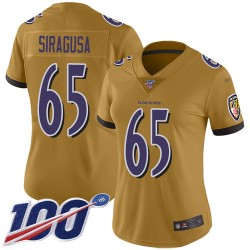 Limited Women's Nico Siragusa Gold Jersey - #65 Football Baltimore Ravens 100th Season Inverted Legend