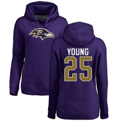 Women's Tavon Young Purple Name & Number Logo - #25 Football Baltimore Ravens Pullover Hoodie