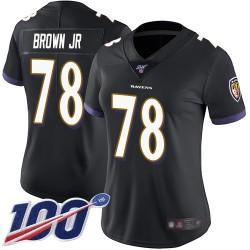 Limited Women's Orlando Brown Jr. Black Alternate Jersey - #78 Football Baltimore Ravens 100th Season Vapor Untouchable