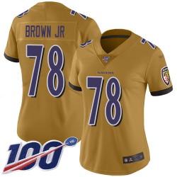Limited Women's Orlando Brown Jr. Gold Jersey - #78 Football Baltimore Ravens 100th Season Inverted Legend