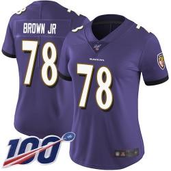 Limited Women's Orlando Brown Jr. Purple Home Jersey - #78 Football Baltimore Ravens 100th Season Vapor Untouchable