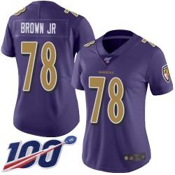 Limited Women's Orlando Brown Jr. Purple Jersey - #78 Football Baltimore Ravens 100th Season Rush Vapor Untouchable