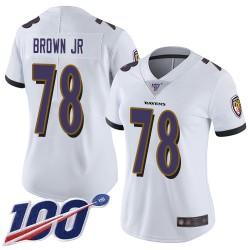 Limited Women's Orlando Brown Jr. White Road Jersey - #78 Football Baltimore Ravens 100th Season Vapor Untouchable