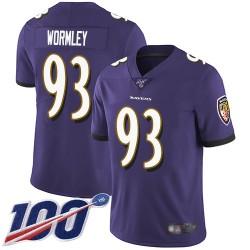 Limited Men's Chris Wormley Purple Home Jersey - #93 Football Baltimore Ravens 100th Season Vapor Untouchable