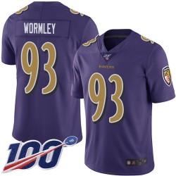 Limited Men's Chris Wormley Purple Jersey - #93 Football Baltimore Ravens 100th Season Rush Vapor Untouchable