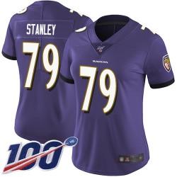 Limited Women's Ronnie Stanley Purple Home Jersey - #79 Football Baltimore Ravens 100th Season Vapor Untouchable