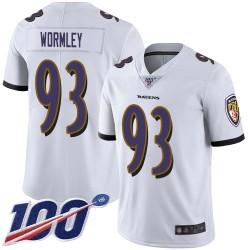 Limited Men's Chris Wormley White Road Jersey - #93 Football Baltimore Ravens 100th Season Vapor Untouchable