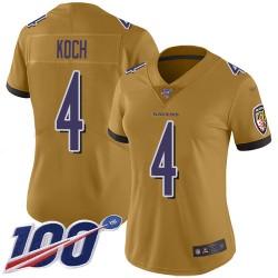 Limited Women's Sam Koch Gold Jersey - #4 Football Baltimore Ravens 100th Season Inverted Legend