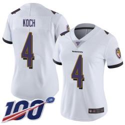 Limited Women's Sam Koch White Road Jersey - #4 Football Baltimore Ravens 100th Season Vapor Untouchable