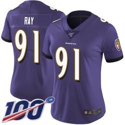 Limited Women's Shane Ray Purple Home Jersey - #91 Football Baltimore Ravens 100th Season Vapor Untouchable