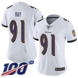Limited Women's Shane Ray White Road Jersey - #91 Football Baltimore Ravens 100th Season Vapor Untouchable