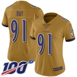 Limited Women's Shane Ray Gold Jersey - #91 Football Baltimore Ravens 100th Season Inverted Legend