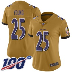 Limited Women's Tavon Young Gold Jersey - #25 Football Baltimore Ravens 100th Season Inverted Legend