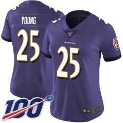 Limited Women's Tavon Young Purple Home Jersey - #25 Football Baltimore Ravens 100th Season Vapor Untouchable