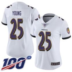 Limited Women's Tavon Young White Road Jersey - #25 Football Baltimore Ravens 100th Season Vapor Untouchable