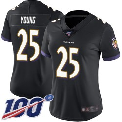 Limited Women's Tavon Young Black Alternate Jersey - #25 Football Baltimore Ravens 100th Season Vapor Untouchable
