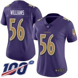 Limited Women's Tim Williams Purple Jersey - #56 Football Baltimore Ravens 100th Season Rush Vapor Untouchable