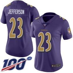Limited Women's Tony Jefferson Purple Jersey - #23 Football Baltimore Ravens 100th Season Rush Vapor Untouchable