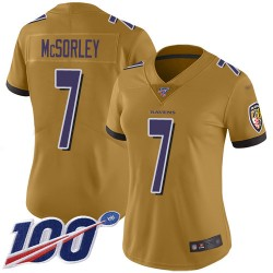 Limited Women's Trace McSorley Gold Jersey - #7 Football Baltimore Ravens 100th Season Inverted Legend