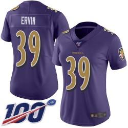 Limited Women's Tyler Ervin Purple Jersey - #39 Football Baltimore Ravens 100th Season Rush Vapor Untouchable