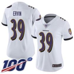 Limited Women's Tyler Ervin White Road Jersey - #39 Football Baltimore Ravens 100th Season Vapor Untouchable