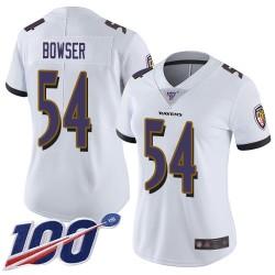 Limited Women's Tyus Bowser White Road Jersey - #54 Football Baltimore Ravens 100th Season Vapor Untouchable