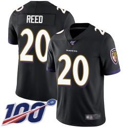 Limited Men's Ed Reed Black Alternate Jersey - #20 Football Baltimore Ravens 100th Season Vapor Untouchable