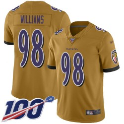 Limited Youth Brandon Williams Gold Jersey - #98 Football Baltimore Ravens 100th Season Inverted Legend
