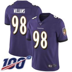 Limited Youth Brandon Williams Purple Home Jersey - #98 Football Baltimore Ravens 100th Season Vapor Untouchable