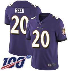 Limited Men's Ed Reed Purple Home Jersey - #20 Football Baltimore Ravens 100th Season Vapor Untouchable