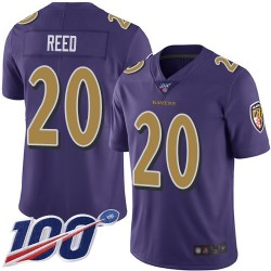 Limited Men's Ed Reed Purple Jersey - #20 Football Baltimore Ravens 100th Season Rush Vapor Untouchable