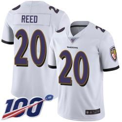 Limited Men's Ed Reed White Road Jersey - #20 Football Baltimore Ravens 100th Season Vapor Untouchable