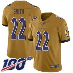 Limited Youth Jimmy Smith Gold Jersey - #22 Football Baltimore Ravens 100th Season Inverted Legend