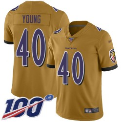 Limited Youth Kenny Young Gold Jersey - #40 Football Baltimore Ravens 100th Season Inverted Legend