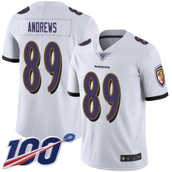 Limited Youth Mark Andrews White Road Jersey - #89 Football Baltimore Ravens 100th Season Vapor Untouchable