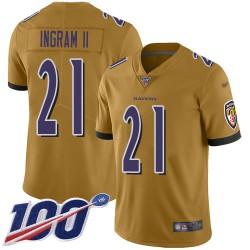 Limited Youth Mark Ingram II Gold Jersey - #21 Football Baltimore Ravens 100th Season Inverted Legend