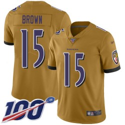 Limited Youth Marquise Brown Gold Jersey - #15 Football Baltimore Ravens 100th Season Inverted Legend