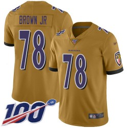 Limited Youth Orlando Brown Jr. Gold Jersey - #78 Football Baltimore Ravens 100th Season Inverted Legend