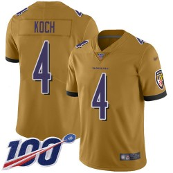 Limited Youth Sam Koch Gold Jersey - #4 Football Baltimore Ravens 100th Season Inverted Legend