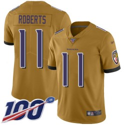 Limited Youth Seth Roberts Gold Jersey - #11 Football Baltimore Ravens 100th Season Inverted Legend