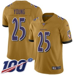 Limited Youth Tavon Young Gold Jersey - #25 Football Baltimore Ravens 100th Season Inverted Legend