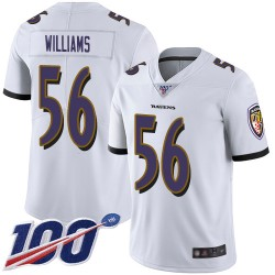 Limited Youth Tim Williams White Road Jersey - #56 Football Baltimore Ravens 100th Season Vapor Untouchable