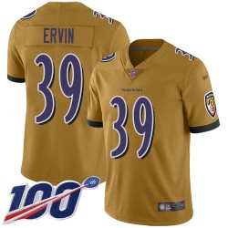 Limited Youth Tyler Ervin Gold Jersey - #39 Football Baltimore Ravens 100th Season Inverted Legend