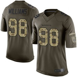 Elite Men's Brandon Williams Green Jersey - #98 Football Baltimore Ravens Salute to Service